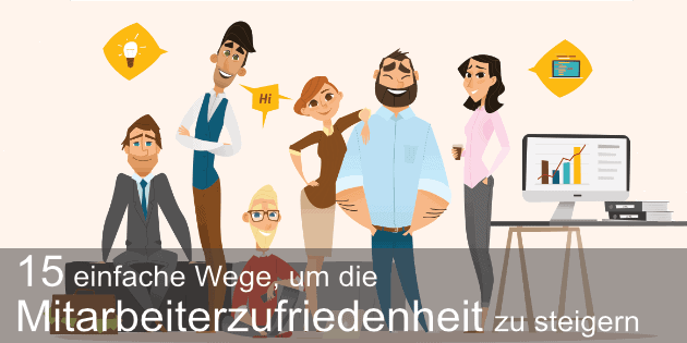 Mitarbeiterzufriedenheit: Gruppe glücklicher Mitarbeiter in einem Büro