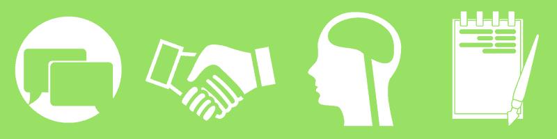 Icons, die Soft Skills von Führungskräften beschreiben