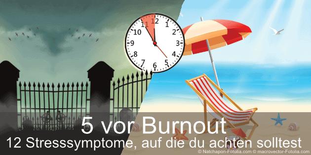 Stresssymptome: Uhr über einer Friedhofsmauer und einem Strand zeigt 5 Min vor 12 an