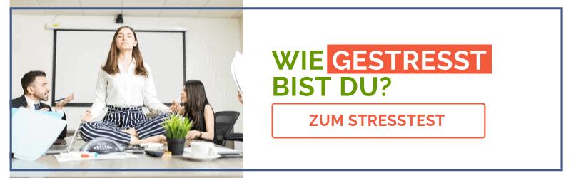 Banner für das Stress-Quiz mit gestressten Mitarbeitern