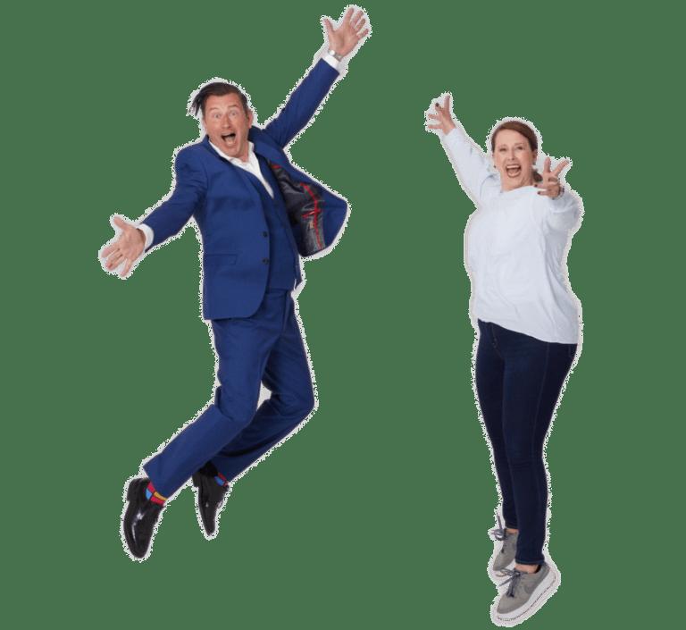 Hirnpuls-Heike und Saleh springen